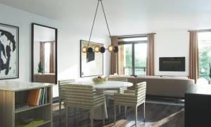 Rendering of Birchcliff Towns suite interior kitchen living.