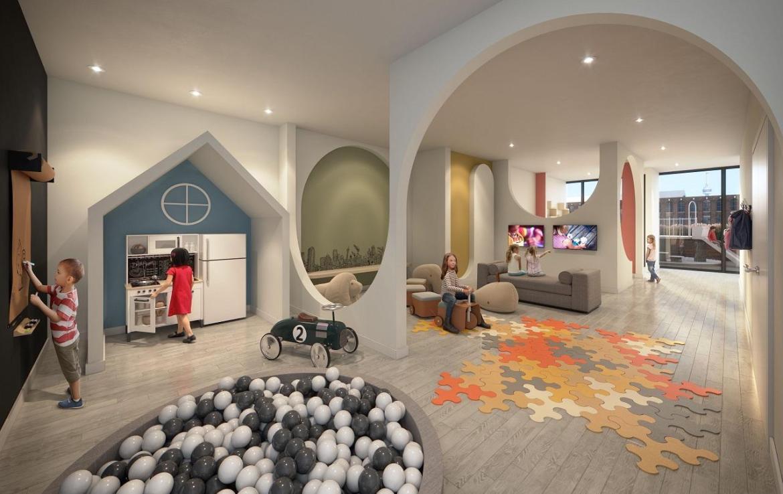 Kids play area rendering of XO Condos in Toronto.