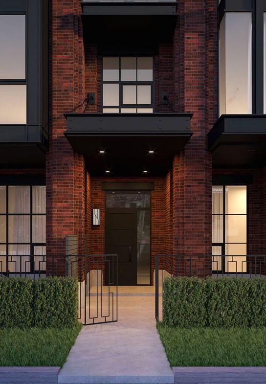 Exterior rendering of 36 Birch Condos building entrance.