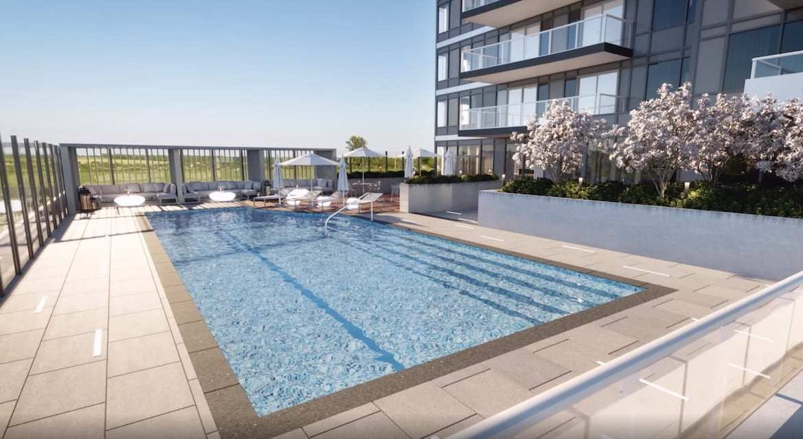 Rendering of Universal City Condos Phase 2 outdoor swimming pool.