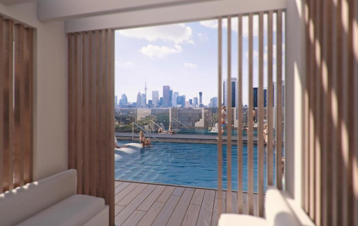 Rendering of River and Fifth Condos Cabana