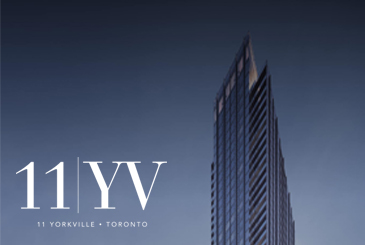 Exterior rendering of 11 YV Condos with logo overlay.
