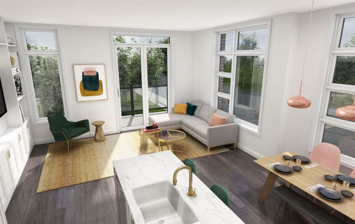 NuTowns Interior Rendering of Living Room Area