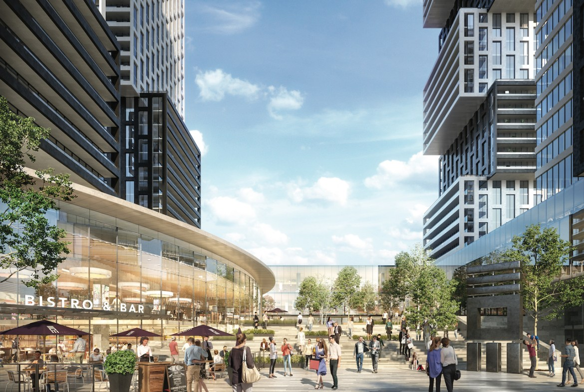 Rrendering of Exchange District Condos in Mississauga public piazza.