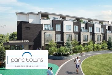 Exterior Rendering of Parc Towns with Logo Overlay
