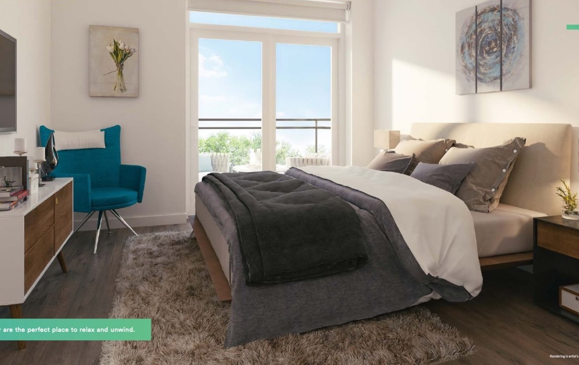 Rendering of Affinity Condos Unit Interior Bedroom