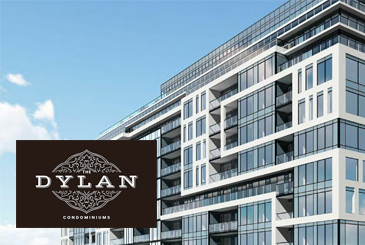 Rendering of The Dylan Condominiums with logo overlay.