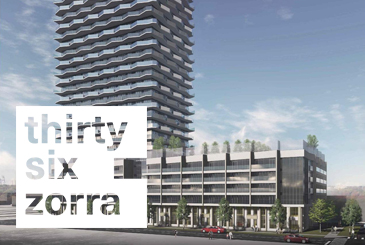 Rendering of Thirty Six Zorra Condos with Logo Overlay