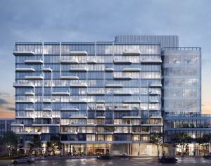 Exterior rendering of Anx on Dupont Condos at dusk.