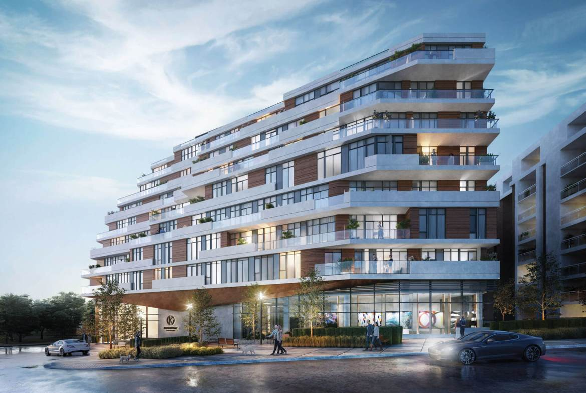 Rendering of Kingsway Crescent Condos exterior at night.