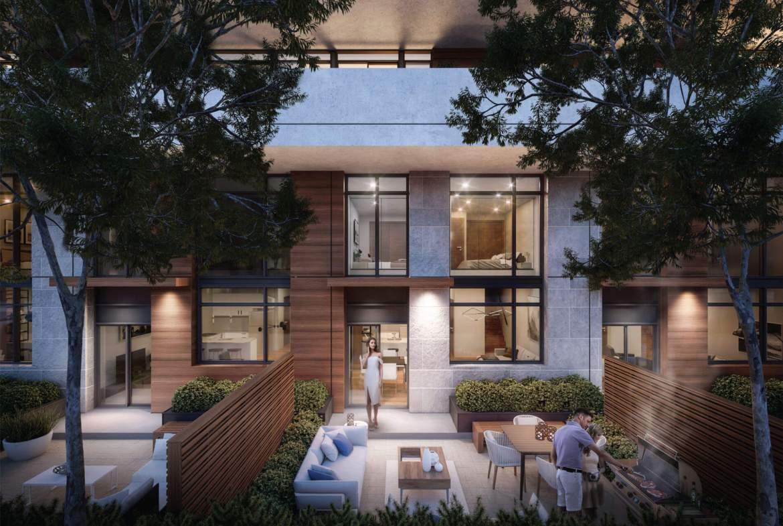 Rendering of Kingsway Crescent Condos suite exterior backyard patio.