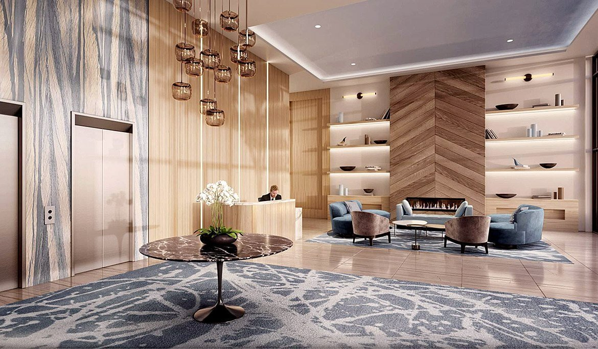 Lobby Rendering of Rise at Stride Condos