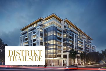 Exterior rendering of Distrikt Trailside Condos with logo overlay.