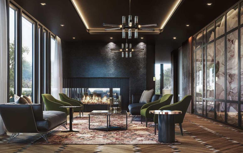 Lounge rendering of Distrikt Trailside condos.