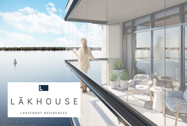 Rendering of Lākhouse Condos Lake View with Logo Overylay