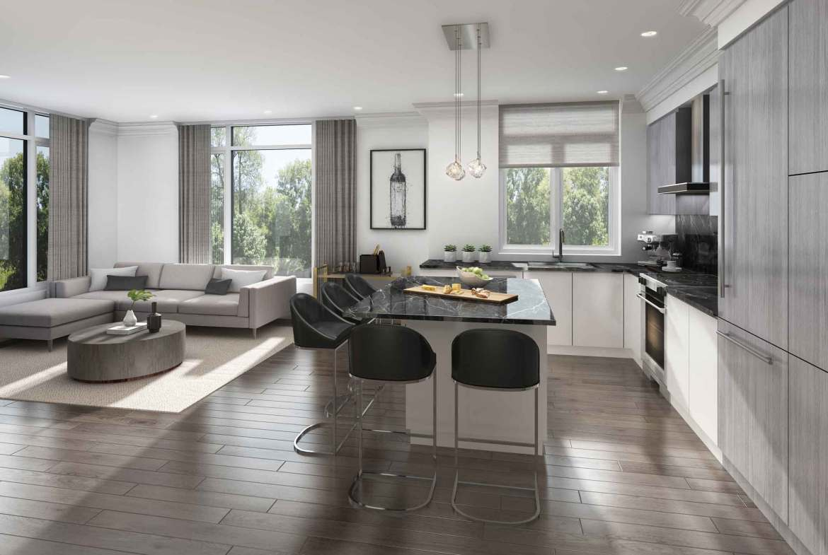Rendering of 11 Altamont Towns suite kitchen and dining.