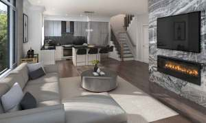 Rendering of 11 Altamont Towns suite living room with fireplace.