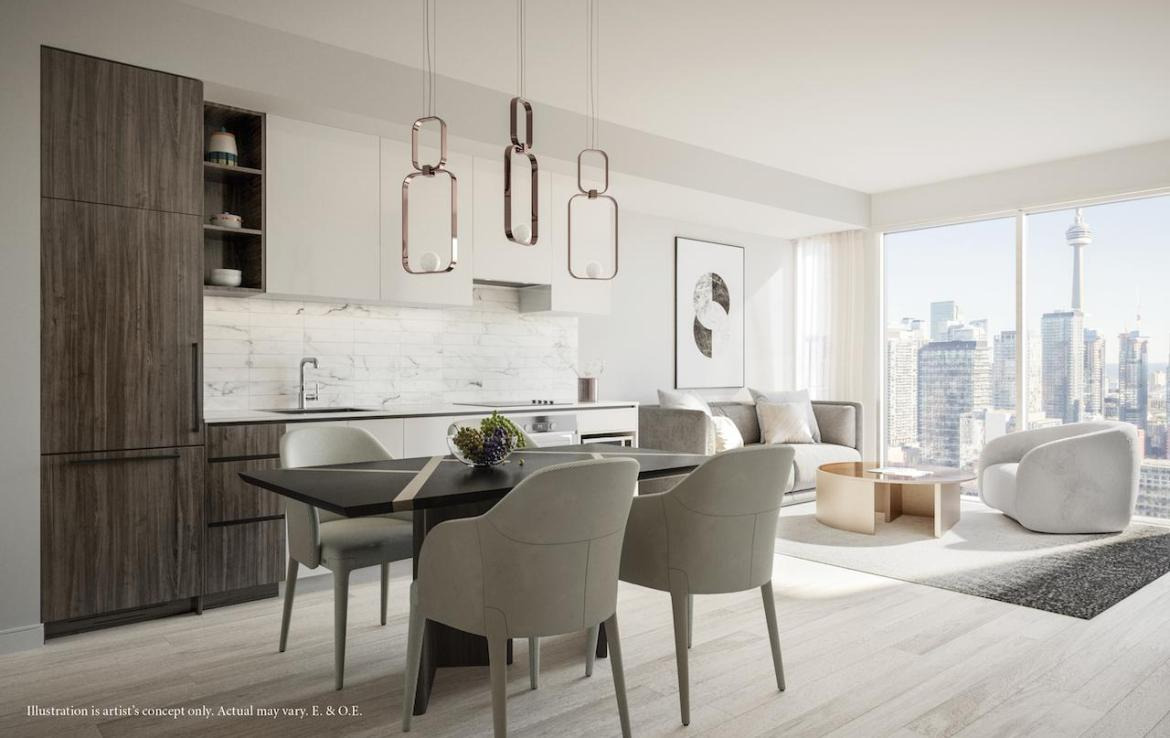 Rendering of 55 Mercer condos interior dark-coloured cabinetry.