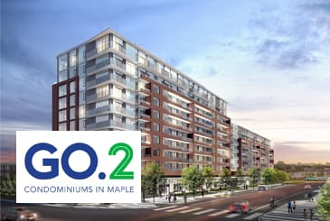Exterior rendering of GO.2 Condos with logo overlay.