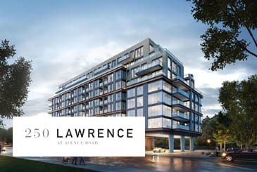 Exterior rendering of 250 Lawrence Condos with logo overlay.