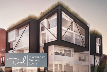 Exterior rendering of Davenport Village Lofts with logo overlay.