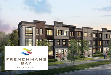 Exterior rendering of Frenchman's Bay Towns with logo overlay.