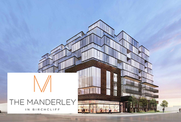 Exterior rendering of The Manderley Condos with logo overlay.