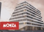 Rendering of Monza Condos with logo overlay.