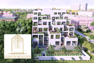 Exterior rendering of Nahid on Broadview with logo overlay.