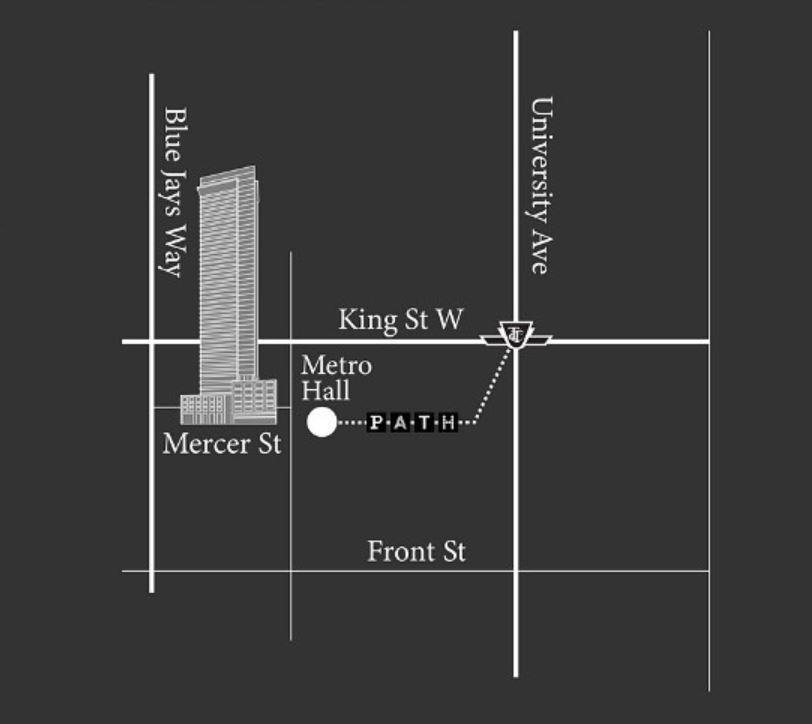 Street map with major intersections around No55 Mercer Condos
