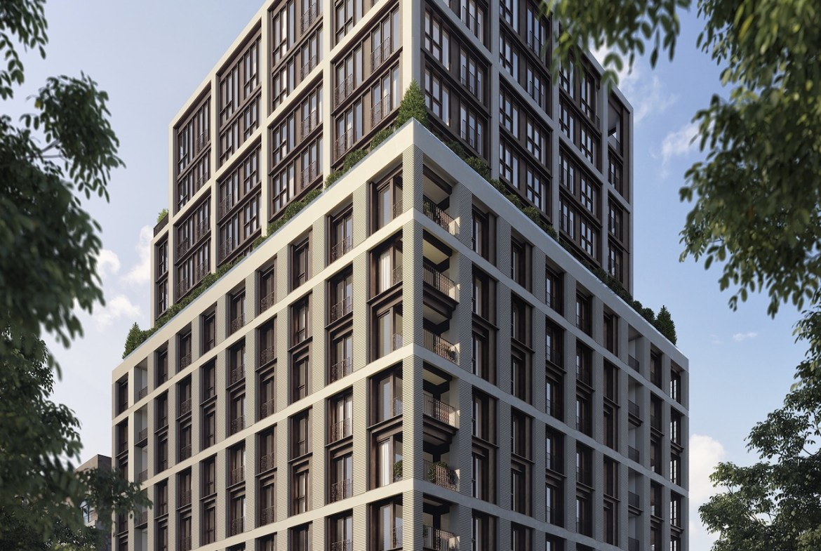 Full exterior rendering of 123 Portland condos during the day.