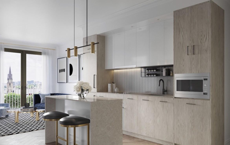 Interior rendering of 123 Portland condos suite kitchen.