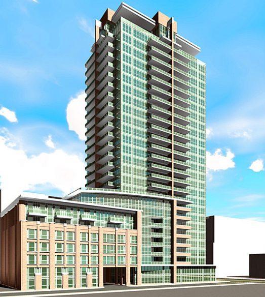 Full exterior rendering of 99 Blue Jays Way Condos Facing right