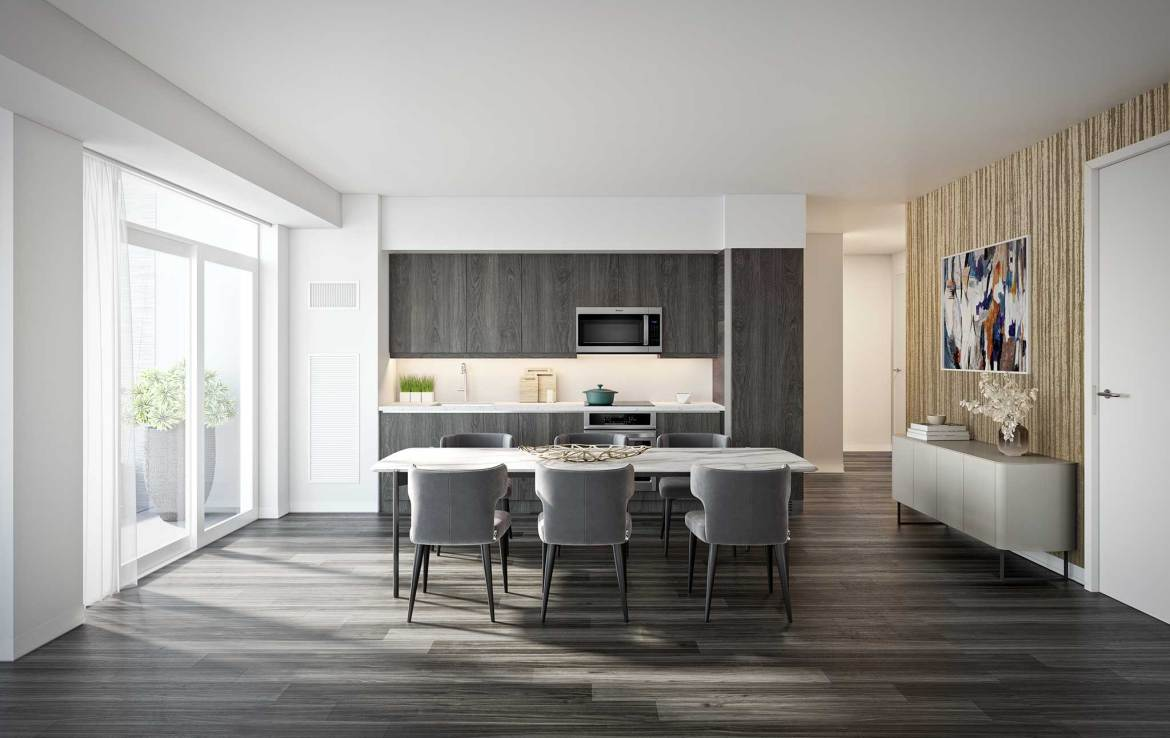 Rendering of Empire Quay House Condos suite kitchen wall cover