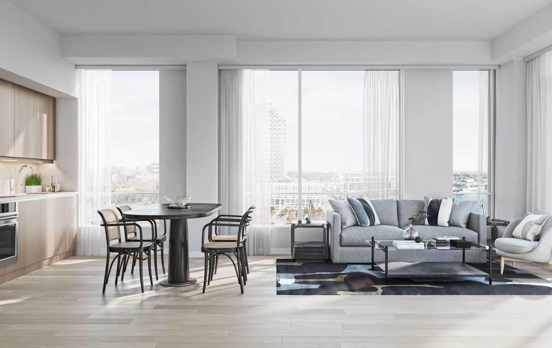 Rendering of Empire Quay House Condos open-concept suite.