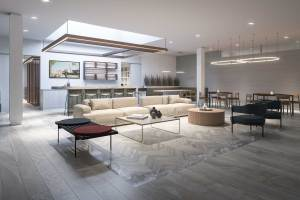 Rendering of Empire Quay House Condos party room with no people.