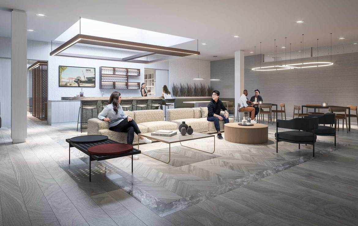 Rendering of Empire Quay House Condos party room.