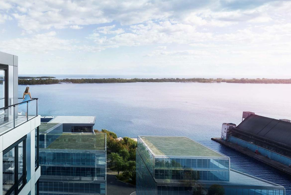 Rendering of Empire Quay House Condos suite terrace.