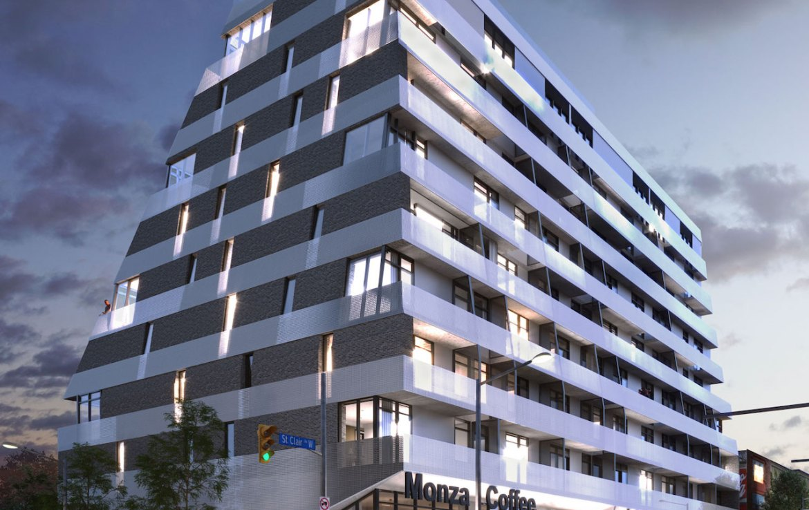 Rendering of Monza Condos exterior at night.