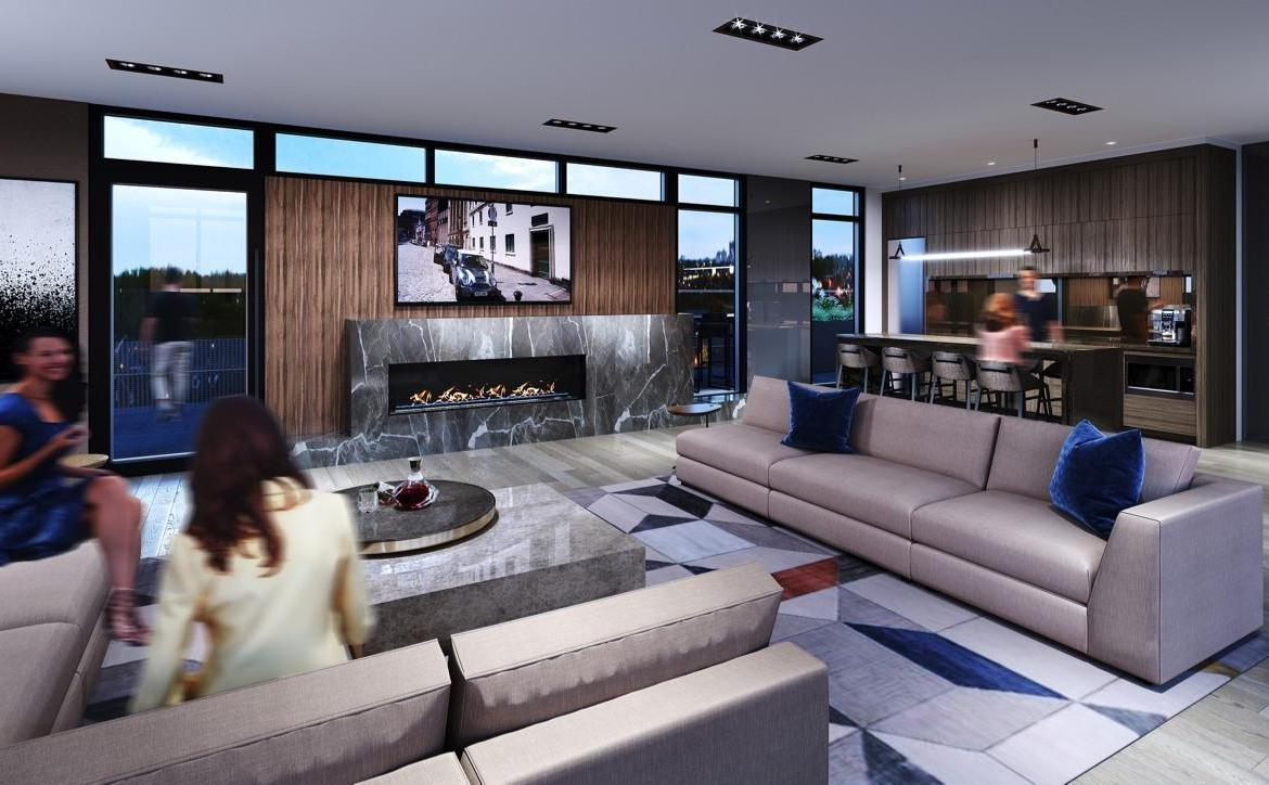 Rendering of Monza Condos rooftop lounge.