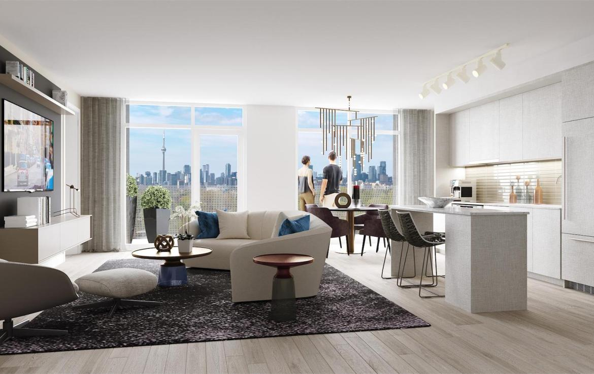 Rendering of Monza Condos suite interior.