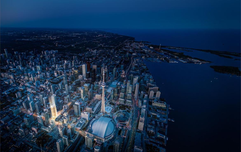 Aerial rendering of No. 55 Mercer Condos in Toronto