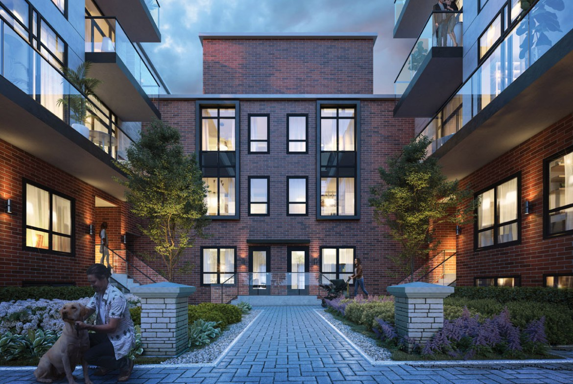 Rendering of Greenwich Village Towns courtyard at dusk.