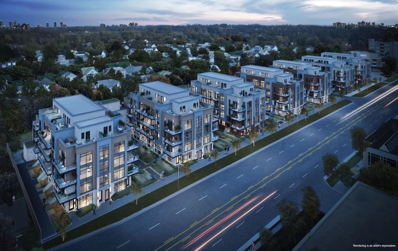 Rendering of Greenwich Village Towns multiple buildings