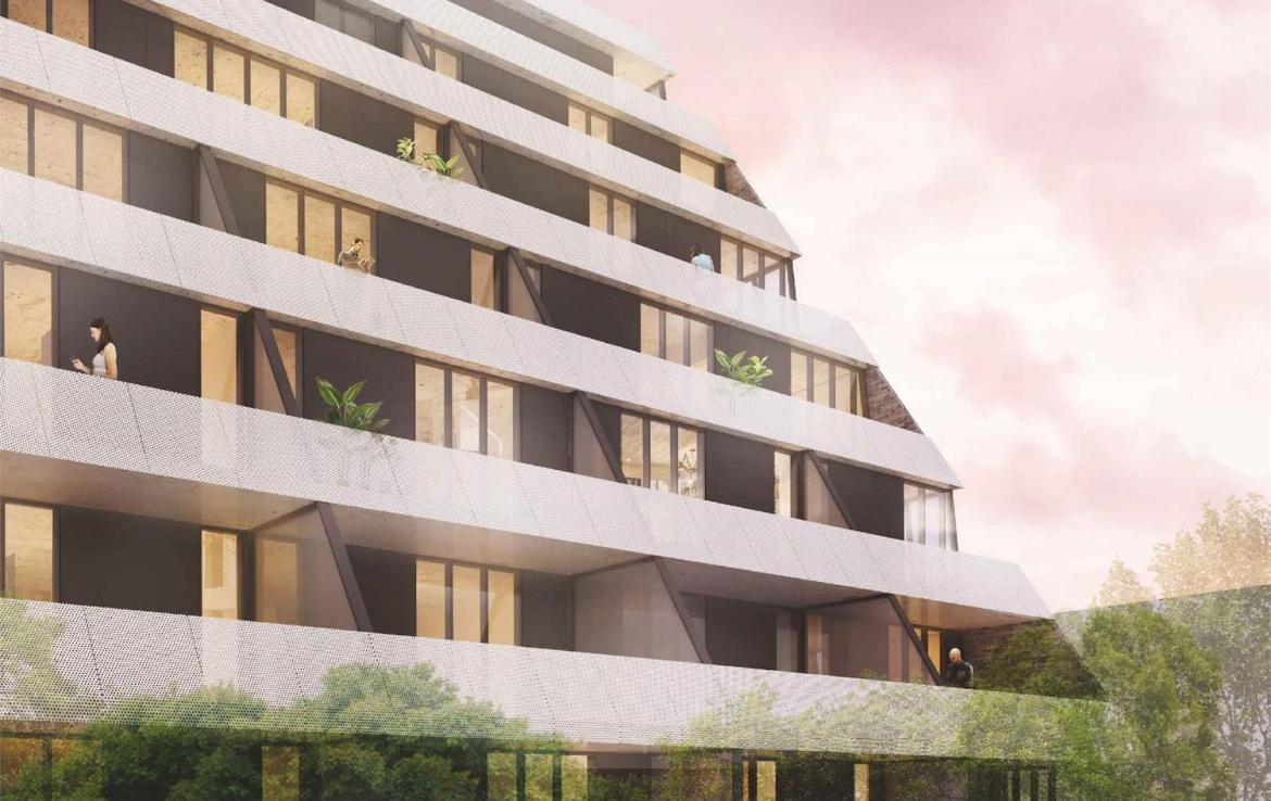 Rendering of Monza Condos exterior building side.