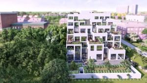 Exterior rendering of Nahid on Broadview.