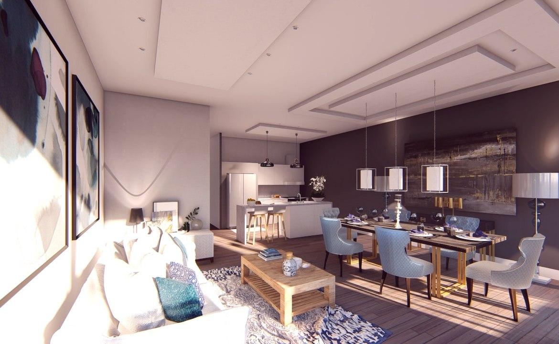 Interior living area rendering of Nahid on Broadview.