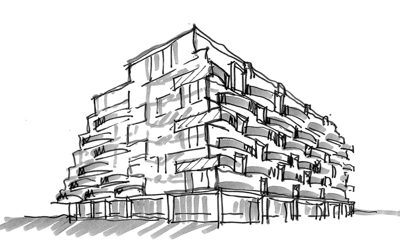 Exterior-back sketch of Reina Condos.