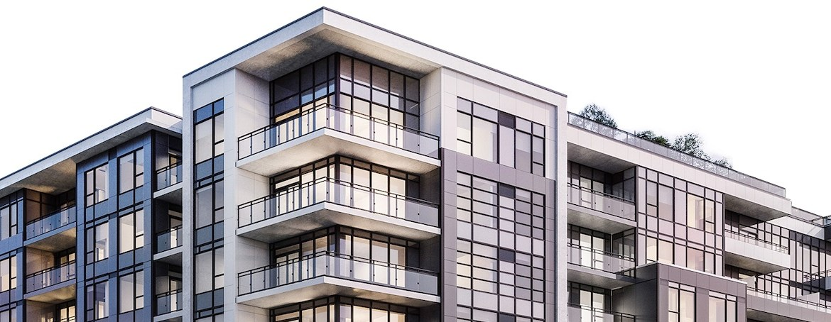 Exterior rendering of Upper West Side Condos at Oakvillage.