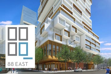 Exterior rendering of 88 East Condos with logo overlay.